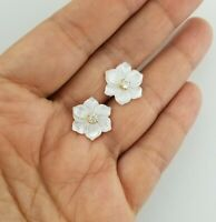 14K Yellow Gold Women Plumeria White Mother Of Pearl Flower Stud Earrings