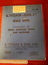 Tyzack & sons Tool Catalogue catalog metal working machine machinist industrial
