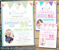 10 Personalised Birthday Party Invitations Vintage Bunting Floral Girl Boy Birds