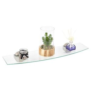 Clear Bowed Glass Floating Shelves Home Decor Storage Display Racks Living Room