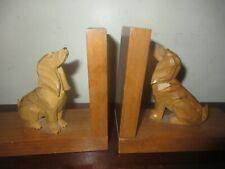 VINTAGE PAIR W. GERMAN HANDCARVED WOOD HOUND SPANIEL DOG BOOKENDS