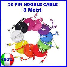 3 Metri Cavo (Cavetto) Dati 30 PIN PIATTO PER  NOODLE per Iphone 4/4S iPad