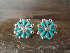 Zuni Indian Sterling Silver Turquoise Cluster Post Earrings by Leekity