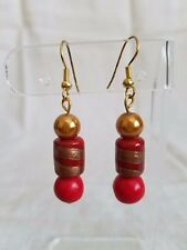 Handcrafted red and gold glass pearl beaded dangle earrings