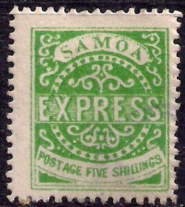 Samoa 1877 - 80 QV 5/-d Green unused SG 19 Perfs 12 CV £600 ( R964 )