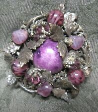 Rare Vintage Miriam Haskell Brooch Glass Bead Hand Wired Silver Floral Design
