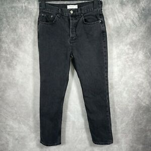 TOPSHOP Editor Straight Black Denim High Waisted Jeans Button Fly L32 W28