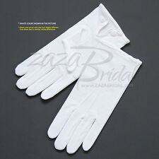 White 100% Cotton Formal Men's Gloves with Snap Closure - Various Sizes