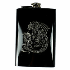 8oz Wizard and Dragon Black Hip Flask