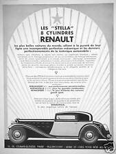 PUBLICITÉ 1933 STELLA 8 CYLINDRES RENAULT NERVASPORT 4 L NERVASTELLA REINASPORT