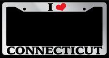 Chrome License Plate Frame I Heart Connecticut Auto Accessory 1197