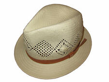 Ralph Lauren White Polo Panama Fedora Hat Brown Trim Cap