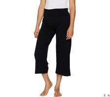 AnyBody Loungewear Cozy Knit Foldover Waist Gaucho Pants Size XL Black Color