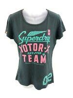 SUPERDRY Womens T Shirt Top M Medium Grey Cotton