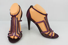 Court shoes ADRIANNA PAPELL Canvas Plum and rhinestones T 39 VERY GOOD CONDITION