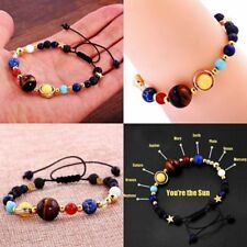 Creative Solar System Galaxy Eight Planets Stone Beads Braided Bracelet Gift
