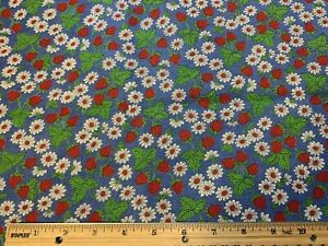 Vintage Cotton Feedsack Fabric 40s SWEET Red Strawberries NOVELTY EXC