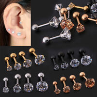 2pc CZ Prong Tragus Cartilage Piercing Stud Earring Ear Ring Stainless Steel Hot