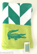 Lacoste Bay Seagreen Beach Towel Croc Logo 36 x 72 Cotton White NWT