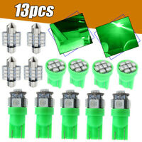 13* Green Car LED Lights Interior Package Kit fit Dome License Plate Lamp Bulbs