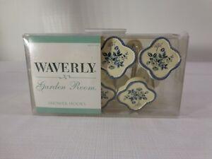 Vintage WAVERLY NEWPORT SHOWER HOOKS Cream w/ Blue Flowers Floral Design Print