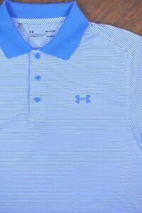 Under Armour Performance Polo Shirt Blue Stripe Men's Medium M