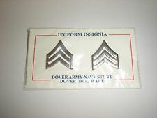 SILVER METAL POLICE/ LAW ENFORCEMENT SERGEANT COLLAR RANK - ONE PAIR