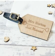 2pcs Personalised Wooden Luggage Tag Just Married Mr and Mrs Suitcase Tags