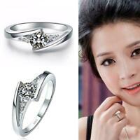 Frauen versilbert Ring Kristall Diamant Zirkon Ehering Schmuck Geschenk Y W6S0