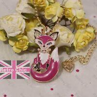 BETSEY JOHNSON animal CUNNING FOX jewellery BNWT ENAMEL earrings/necklace brooch