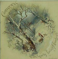 1886 Victorian Christmas Bells Poem Card Mica Wirths Bros & Owen Lady Dog P79