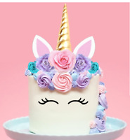 Large 2D Unicorn Horn PRE-CUT Edible Wafer Cake Topper Pink Lilac Roses #151
