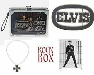 Elvis Presley Collection Belt Buckle TCB Necklace Rock Box Limited Edition Items