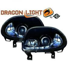 LHD Projector Headlights Pair LED Dragon Clear Black For Renault Clio II 98-01