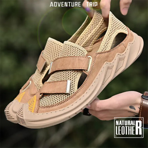 Mens Casual Outdoor Round Toe Sandals Comfy Breathable Mesh Beach Flats Shoes