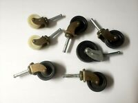 Mixed Lot Antique Vintage Set of 7 Wheels Furniture Casters Steampunk