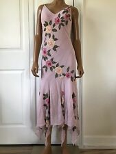 Sue Wong Nocturnal Pink Silk Deco Dress 1920s Style Bias Cut Size 4