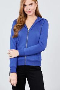 Women's Basic Zip Up Fleece Hoodie Jacket Lightweight w/ Pockets