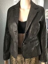 OLD NAVY Women's BLAZER LEATHER Button Down JACKET Long Sleeve sz S