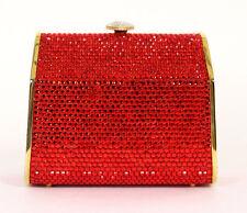 JUDITH LEIBER Ruby Red Crystal Metal Heart Lock Minaudiere Evening Bag