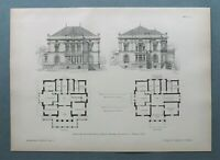 AR93) Architektur Abbazia Opatija1893 Villa Kesselstatt Kroatien Holzstich 28x39