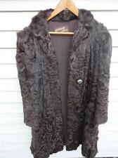 Genuine Vintage ALBRECHT Brown Fur Coat Ladies w Carved Buttons