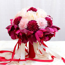 """9"""" Bride Bouquet - Plum Lily White Rose Pink Dahlia Real Touch Wedding Flowers"""
