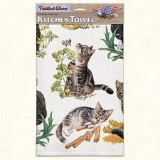 Fiddlers Elbow Kitchen Dish Tea Towel TIGER TABBY KITTENS, Cats 22x32 Cotton USA