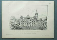 AR89) Architektur Braunstedt 1889 Schloss Weide Gebäude Park Holzstich 28x39cm
