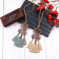 Bohemia Women Boho Spiral Tassel Pendant Necklace Long Sweater Chain Jewelry US