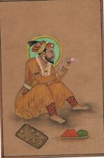Miniature Portrait Of Mughal Emperor Shahjahan On Paper Indian Mogul Painting