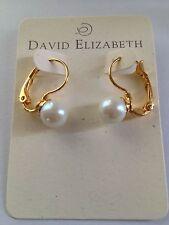 New, David Elizabeth Jewelry, 10 mm Cream Faux Pearl Lever Back Earring, Cream