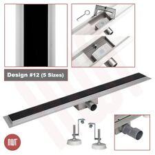 800mm Long Rectangular Glass & Stainless Steel Linear Wetroom Drain (Design 12)