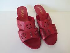 """NEW EASY STEPS SIZE 9C RED """"KAYAK"""" LEATHER SANDALS"""